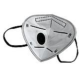 Респіратор маска захисна FFP2 KN95 з клапаном багаторазова Чорна, фото 5