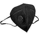 Респіратор маска захисна FFP2 KN95 з клапаном багаторазова Чорна, фото 2