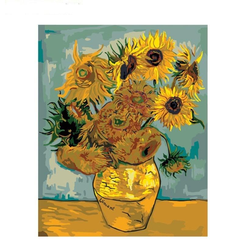 "Картина по номерам 40*50 см ""Подсолнухи"" художник  Ван Гог"