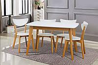 Стіл обідній дерев'яний розкладний Модерн 150 бук/білий, фото 1