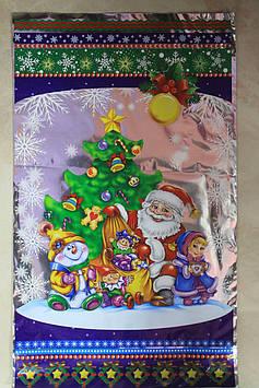 Пакет полиэтиленовый фольга с рисунком новогодним дед мороз и елочка