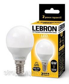 Светодиодная LED лампа LEBRON L-G45, 6W, Е14 мягкий свет