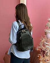 Женский кожаный рюкзак magic bag черный меньше