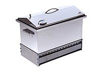 """Коптильня для горячего копчения до 5 кг с термометром (520х300х310) крышка """"Домик"""", фото 2"""