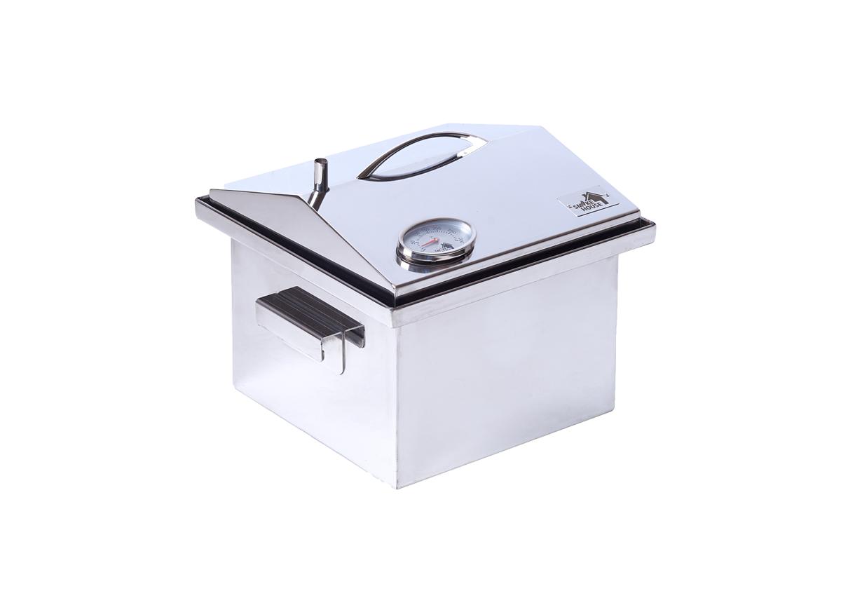 """Коптильня для горячего копчения с термометром крышка """"Домик"""" из нержавеющей стали (300х300х250)"""