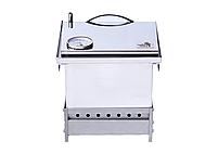 """Коптильня для горячего копчения с термометром крышка """"Домик"""" из нержавеющей стали (300х300х250), фото 4"""