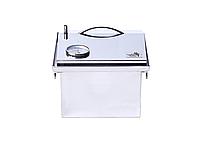 """Коптильня для горячего копчения с термометром крышка """"Домик"""" из нержавеющей стали (300х300х250), фото 5"""