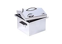 """Коптильня для горячего копчения с термометром крышка """"Домик"""" из нержавеющей стали (300х300х250), фото 8"""
