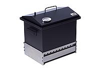 Коптильня для горячего копчения Крышка Домиком 400х300х310 с термометром окрашенная, фото 4