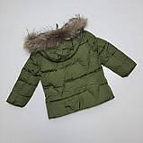 Зимняя куртка для мальчика с натуральным мехом  БИО-ПУХ Хаки р. 98, 104, 110, фото 2