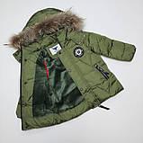 Зимняя куртка для мальчика с натуральным мехом  БИО-ПУХ Хаки р. 98, 104, 110, фото 3