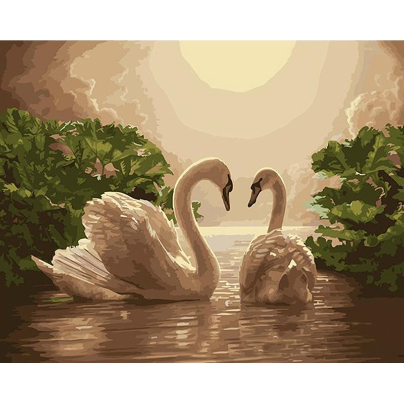 "Картина по номерам 40*50 см ""Лебеди на озере"""