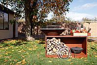 Гриль-мангал, барбекю HOLLA GRILL Rust Wide большая открытая тумба, фото 9