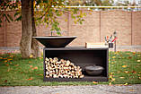 Гриль мангал, барбекю HOLLA GRILL Black Wide большая открытая тумба, фото 8