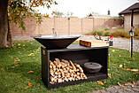 Гриль мангал, барбекю HOLLA GRILL Black Wide большая открытая тумба, фото 10