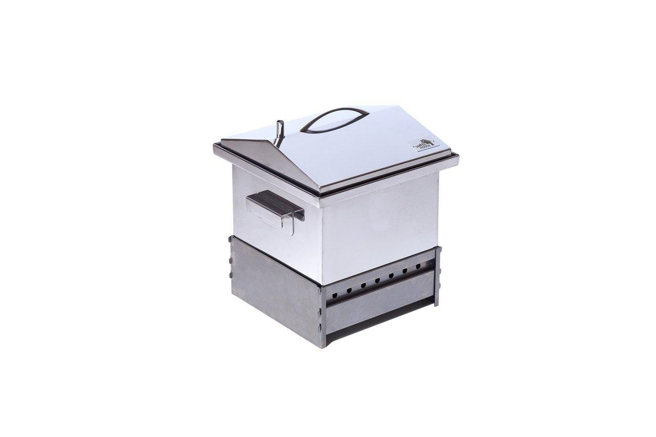Коптильня для горячего копчения с гидрозатвором из нержавеющей стали на 2 кг (300х300х250)