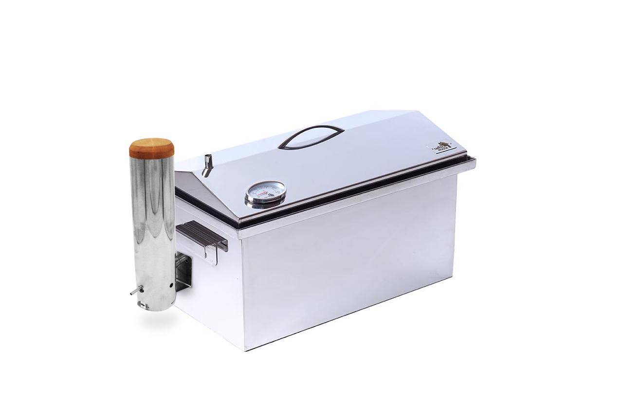 Коптильня из нержавеющей стали с дымогенератором и термометром (520x300x310)