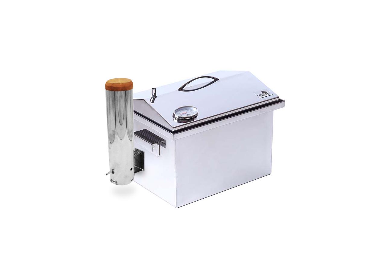 Коптильня для горячего копчения из нержавейки с термометром на 3 кг (400х300х310)