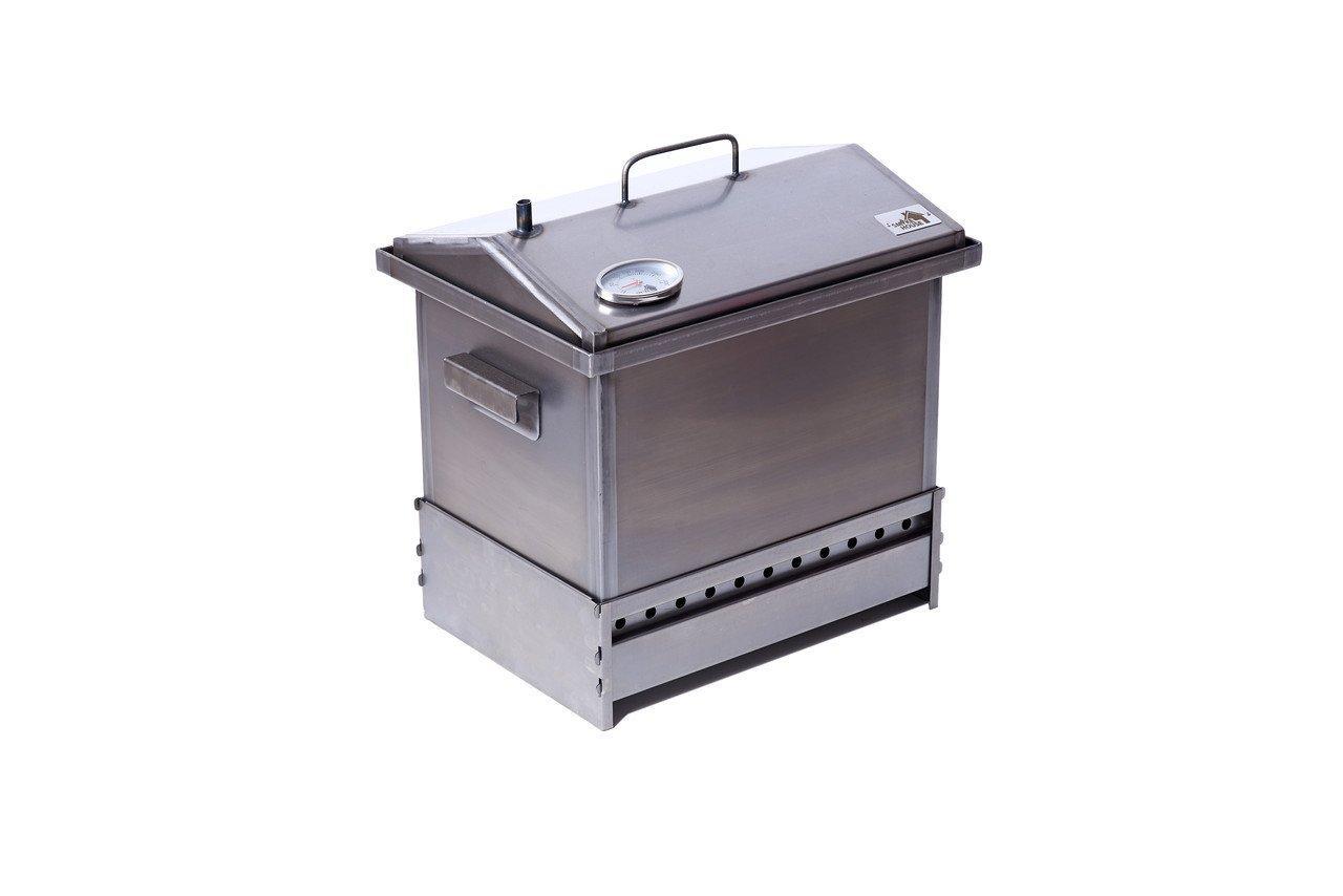 Коптильня для горячего копчения с гидрозатвором,термометром и подставкой (400х300х310)