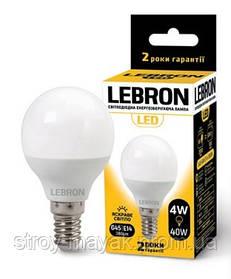 Светодиодная LED лампа LEBRON L-G45, 4W, Е14 яркий свет