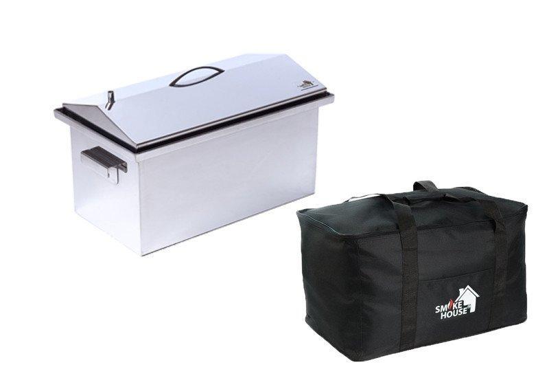 """Коптильня горячего копчения с гидрозатвором (520х300х310) крышка """"Домик"""" с сумкой"""