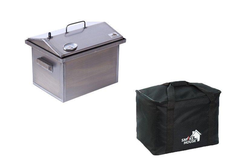Коптильня для горячего копчения  с термометром и гидрозатвором, в сумке 400х300х310