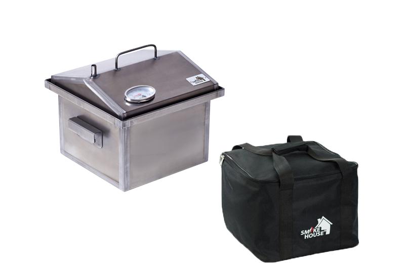 Коптильня горячего копчения и барбекю с гидрозатвором с термометром и сумкой 300х300х250
