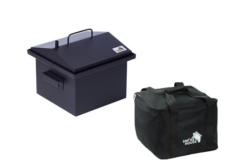 Коптильня с гидрозатвором для домашнего копчения окрашенная с сумкой  300х300х250