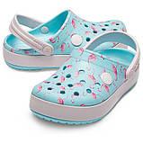 CROCS Kids' Crocband™ Multigraphic Clogs Flamingo Детские Кроксы Сабо, фото 2