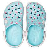 CROCS Kids' Crocband™ Multigraphic Clogs Flamingo Детские Кроксы Сабо, фото 4