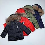 Зимняя куртка для мальчика с натуральным мехом  БИО-ПУХ Хаки р. 98, 104, 110, фото 5