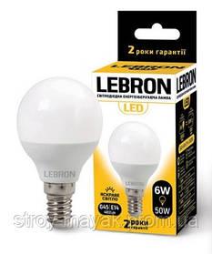 Светодиодная LED лампа LEBRON L-G45, 6W, Е14 яркий свет