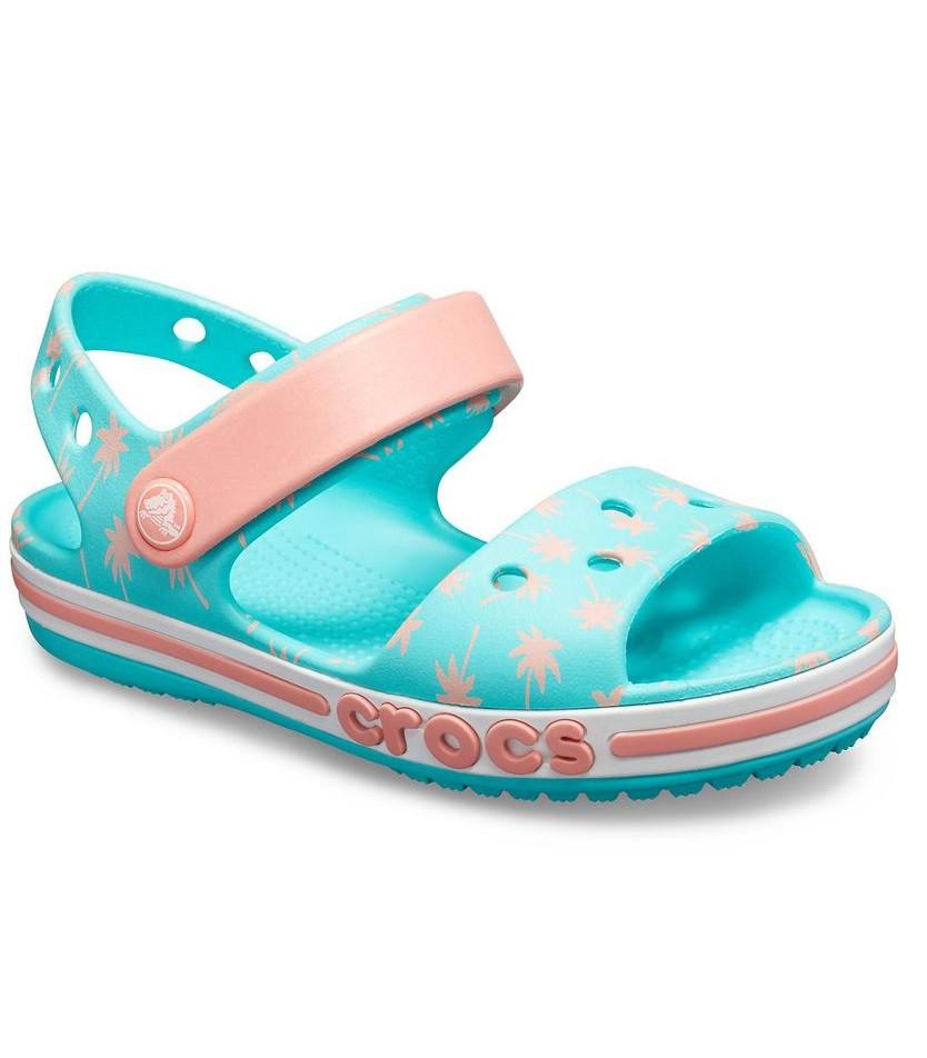 CROCS Kids' Bayaband Sandal Pool Blue & Peach Детские Кроксы Сандалии