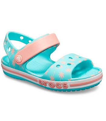 CROCS Kids' Bayaband Sandal Pool Blue & Peach 205400 Детские Кроксы Сандалии С9 - 26 размер - длина стельки 16-16.5см