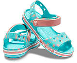 CROCS Kids' Bayaband Sandal Pool Blue & Peach Детские Кроксы Сандалии, фото 2