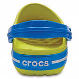 CROCS Kids' Crocband™ Clog Tennis Ball Green / Ocean Детские Кроксы Сабо, фото 5
