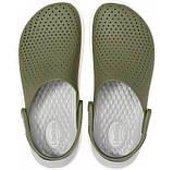 CROCS LiteRide™ Clog Army Green / White Мужские Кроксы Сабо, фото 3