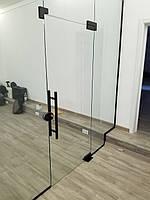 Стеклянная перегородка с одностворчатой маятниковой дверью