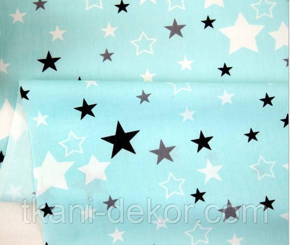 Сатин (хлопковая ткань)  серые, белые, черные звезды на мятном