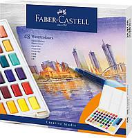 Акварельные краски Faber-Castell Watercolors in Pans, 48 цв. + ручка-кисточка с контейнером для воды, 169748