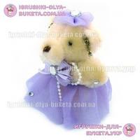 Мишка с бантом для букетов фиолетовая