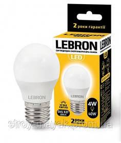 Светодиодная LED лампа LEBRON L-G45, 4W, Е27 мягкий свет