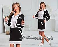 Женский оригинальный юбочный костюм спортивного стиля 42р:Пиджак: ОГ-90/92см,ОТ-80см,длина рукава- 61см. Юбка