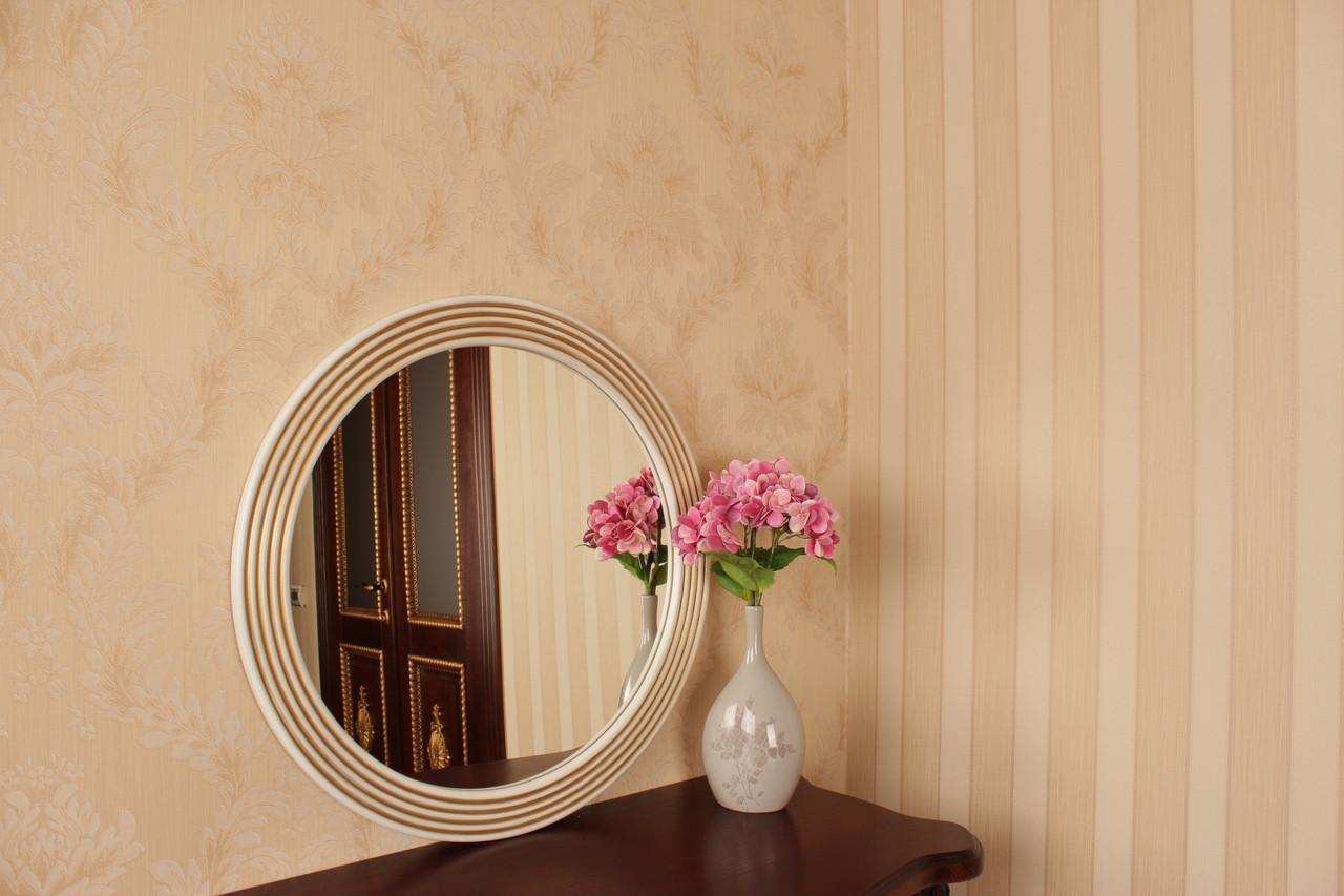 Зеркало в раме белое с золотом в спальню/ Диаметр 550мм/ Зеркало на стену/ Код MD 1.2/1