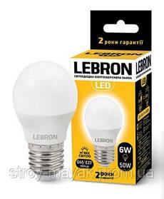 Светодиодная LED лампа LEBRON L-G45, 6W, Е27 мягкий свет