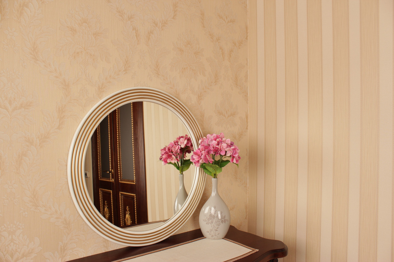 Белое с золотом зеркало в круглой раме в салон/Зеркало в раме на стену/Диаметр 690мм/ Код MD 1.2/2