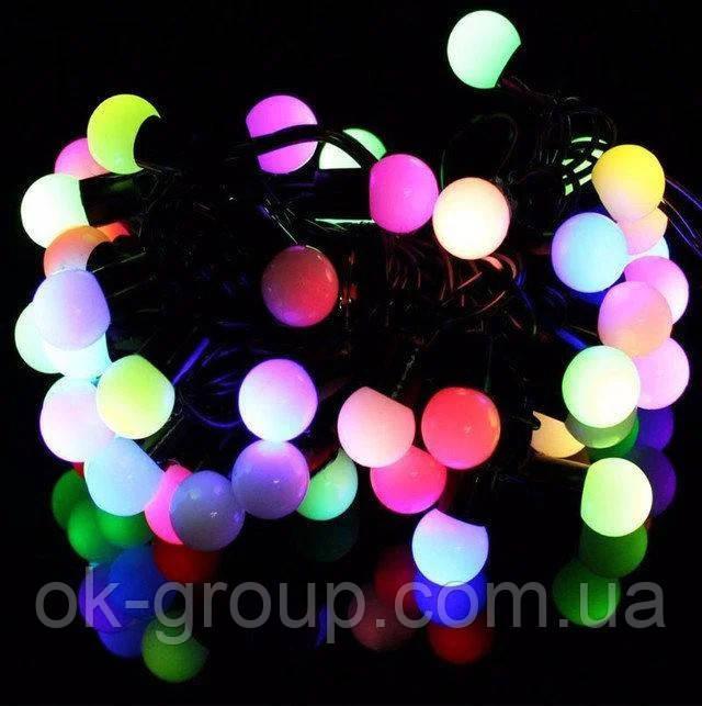 Гірлянда 6м Кульки 1,8см 40LED RGB ( мульти ) мультиколор чорний провід новорічна