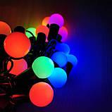 Гірлянда 6м Кульки 1,8см 40LED RGB ( мульти ) мультиколор чорний провід новорічна, фото 2