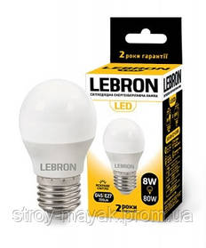 Світлодіодна LED лампа LEBRON L-G45, 8W, Е27 м'яке світло