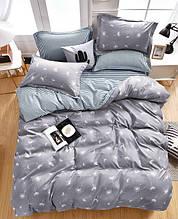 Комплект постельного белья серый из микросатина двуспальный.
